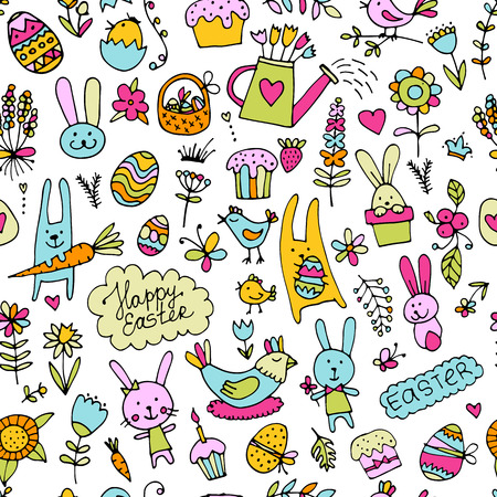 Easter, seamless pattern for your design. Vector illustration Çizim