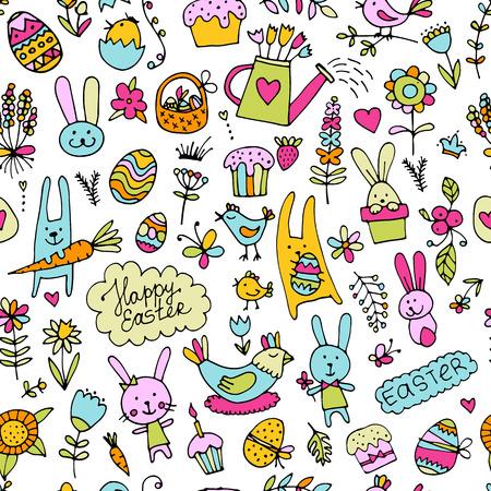 Ostern, nahtlose Muster für Ihr Design. Vektor-Illustration Standard-Bild - 75800961