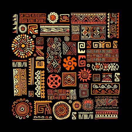 あなたの設計のための民族の手作り飾り。ベクトルの図。