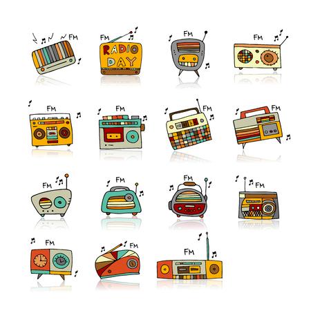 Vintage radio set, sketch for your design