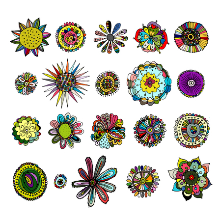 design elements: Flowers collection, sketch for your design Stock Photo