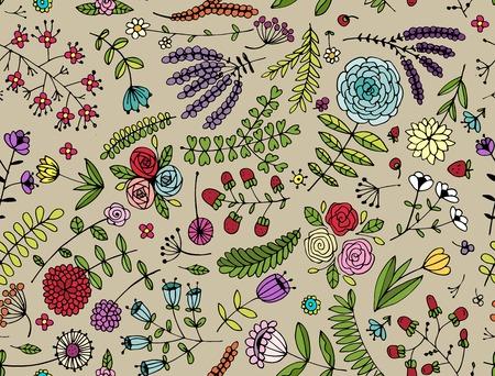 sketch: Floral seamless pattern, sketch for your design