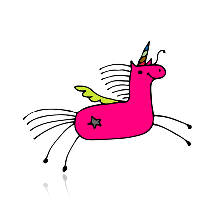 sky: Magic unicorn, sketch for your design