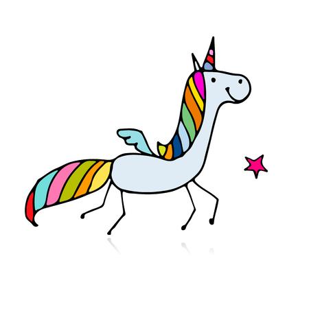 Magic unicorn, sketch for your design