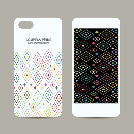 isolated: Mobile phone cover design, abstract geometric pattern. Vector illustration