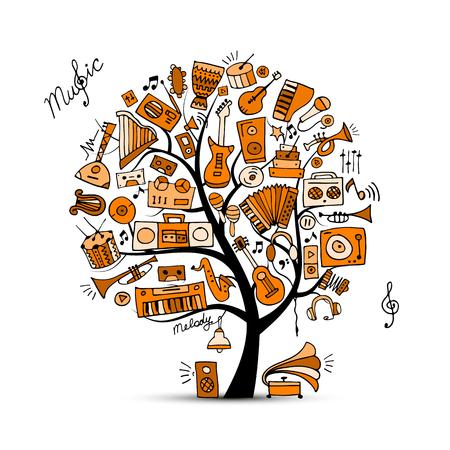 arpa: Instrumentos musicales árbol, bosquejo para su diseño Vectores