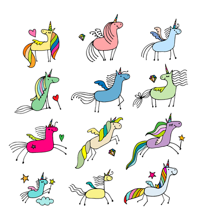rainbow sky: Magic unicorns collection, sketch for your design. Vector illustration Illustration