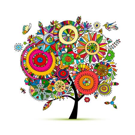 sketch: Floral tree for your design Illustration