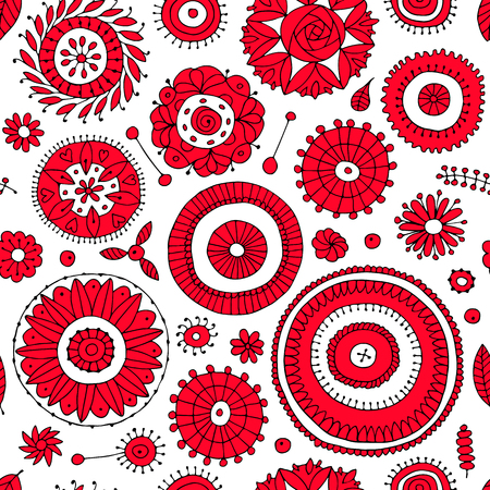 abstract flowers: Floral seamless pattern, sketch for your design