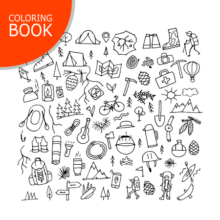 element: Mountain tourism set, coloring page design Illustration