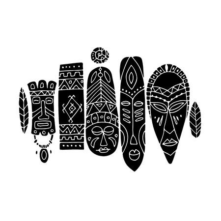 Ensemble ethnique de masques tribaux, croquis pour votre design Banque d'images - 76875539