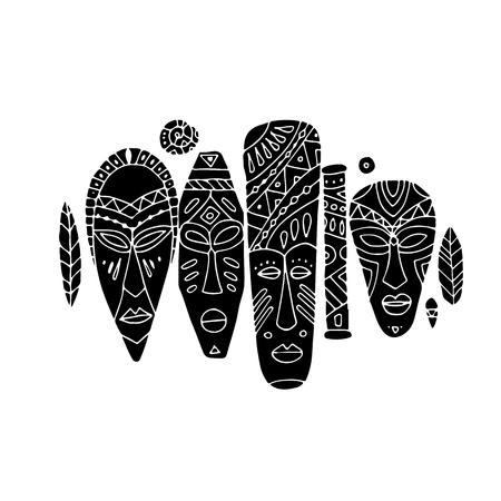 Ensemble ethnique de masques tribaux, croquis pour votre design Banque d'images - 76875547