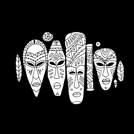 Ensemble ethnique de masques tribaux, croquis pour votre design Banque d'images - 76875607