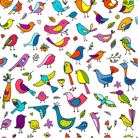 Birds family, seamless pattern for your design