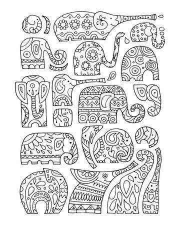Ornate elephant collection, sketch for your design Illustration