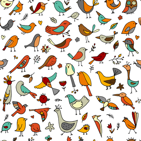 Birds family seamless pattern