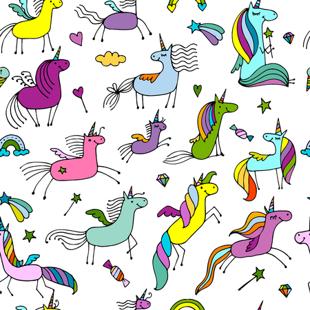 rainbow sky: Magic unicorns, seamless pattern for your design