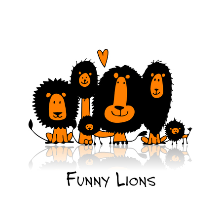 animal silhouette: Funny lions, sketch for your design Illustration