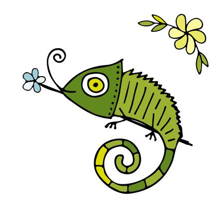 Dibujo animado del camaleón, bosquejo para su diseño Foto de archivo - 77080026