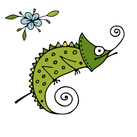 graphic icon: Chameleon cartoon, sketch for your design