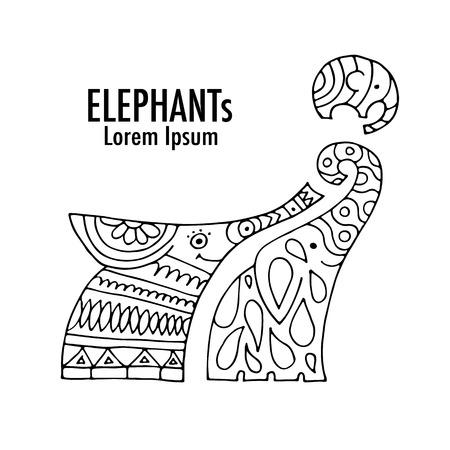 animal silhouette: Ornate elephant design. Vector illustration