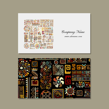 card: Business card design, ethnic handmade ornament