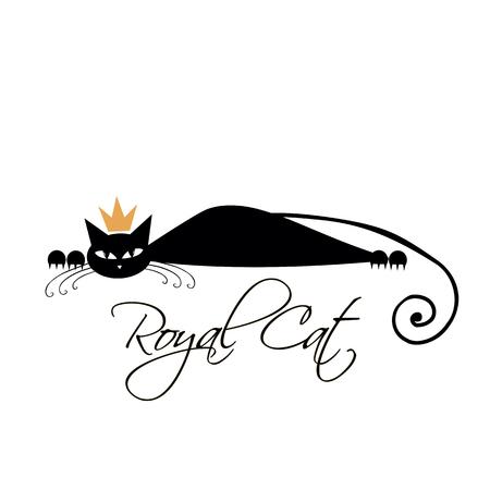 Diseño real del gato negro. Ilustración del vector Foto de archivo - 78443798
