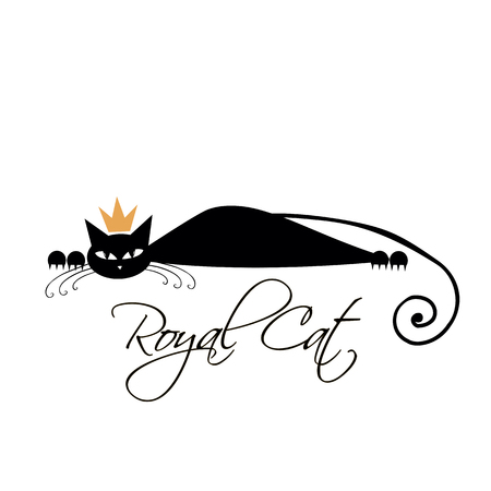 Royal black cat design. Vector illustration Illustration