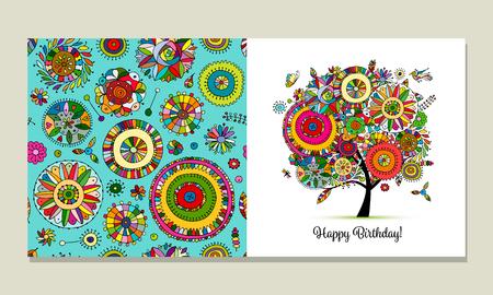 Greeting card design, floral tree