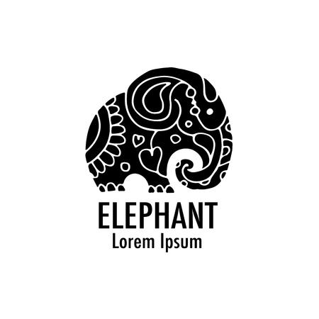 Design orné d'éléphants Banque d'images - 79928592