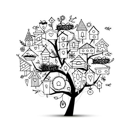 springtime: Tree with birdhouses, sketch for your design