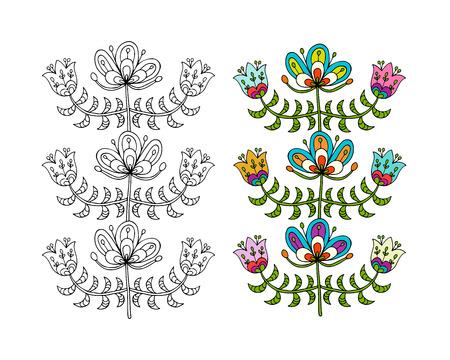 귀하의 디자인에 대 한 스 칸디 나 비아 민속 스타일 꽃입니다.