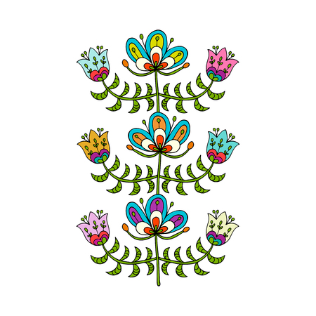 Scandinavian folk style flowers for your design. Stok Fotoğraf - 79883514