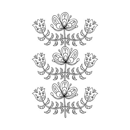 Scandinavian folk style flowers for your design.