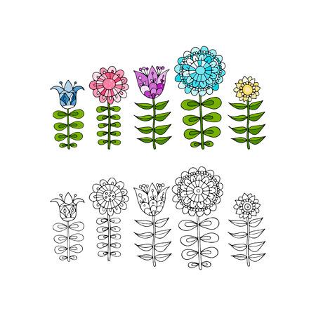 Scandinavische volksstijl bloemen voor uw ontwerp.