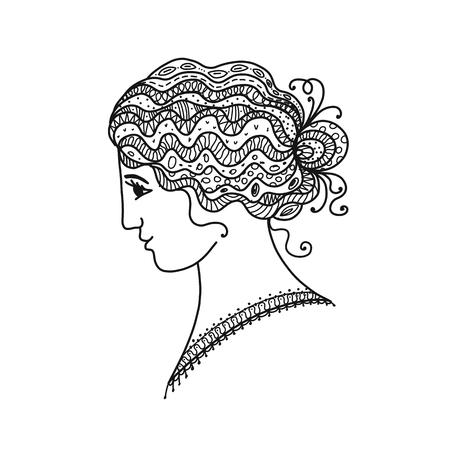 あなたの設計のための女性の肖像画、黒シルエット。  イラスト・ベクター素材