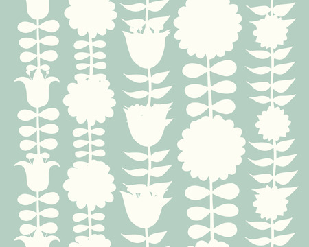 Scandinavian folk style flowers, seamless pattern.