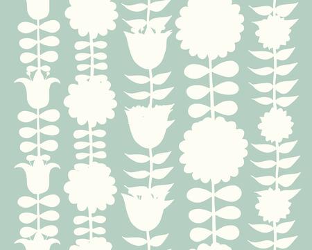 Scandinavian folk style flowers, seamless pattern.