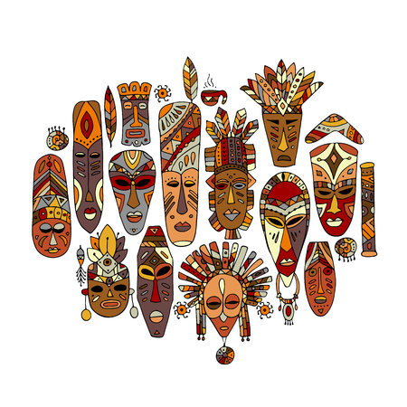 Tribal mask ethnic set, sketch for your design Иллюстрация