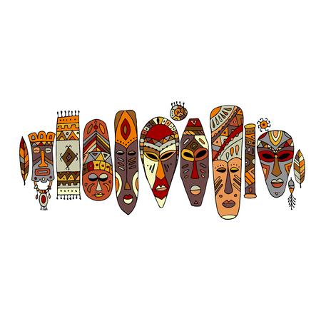 Tribal mask ethnic set, sketch for your design Banco de Imagens - 80109836