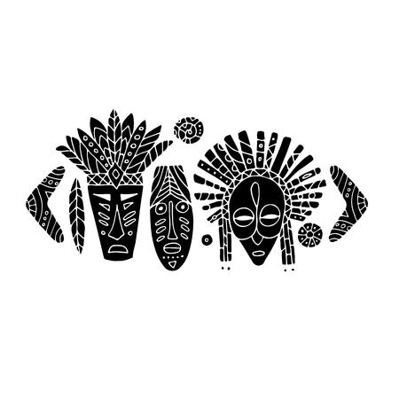 Ensemble ethnique de masques tribaux, croquis pour votre design Banque d'images - 80109839