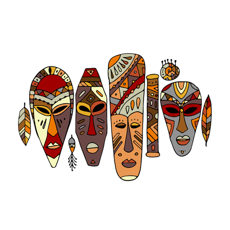 Tribal mask ethnic set, sketch for your design Illustration