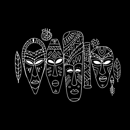 Ensemble ethnique de masques tribaux, croquis pour votre design Banque d'images - 80111618