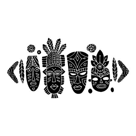 máscara tribal conjunto étnico, boceto de su diseño Ilustración de vector