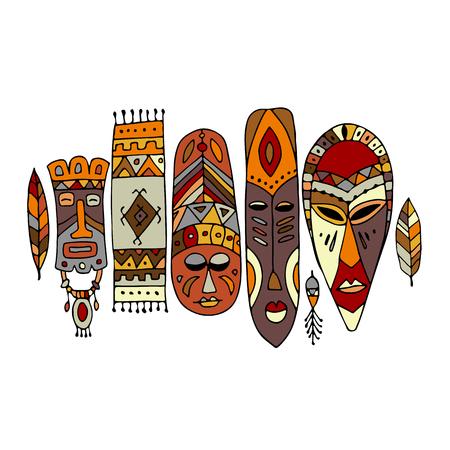 Ensemble ethnique de masques tribaux, croquis pour votre design Banque d'images - 80110207