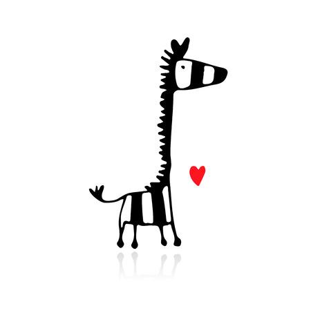 Zebra sketch for your design.