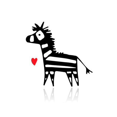 Schizzo Zebra per il tuo design. Archivio Fotografico - 82516183