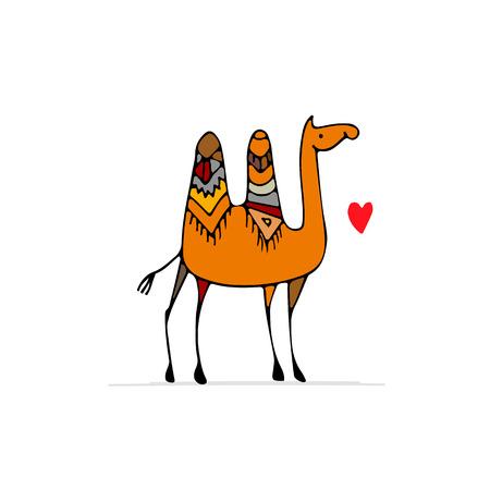 Sketch of a camel for your design, vector illustration Иллюстрация