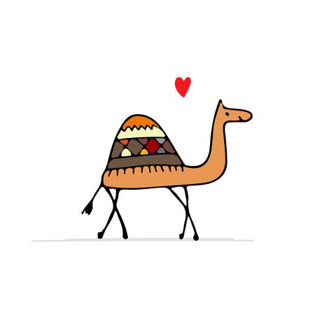 Schets van een kameel voor uw ontwerp Stock Illustratie