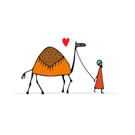 Camel, sketch for your design illustration.
